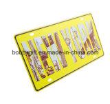 Modo su ordinazione che fa pubblicità alla targa di immatricolazione di alluminio del metallo