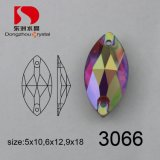 Wholesale Flat Back Siam Ab Horse Eye Crystal Stone for Sewing Garment