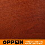 Oppein blanco y rojo cereza de madera de grano PVC deslizante armario (YG11545C)