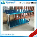 Table de travail debout de service de restaurant robuste de construction renforcée par étagère ronde de tube de 2 couches avec la patte réglable de hauteur