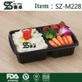 Disposable 2 Compartment Plastic Lunch Box for Storage with Arilight Lids