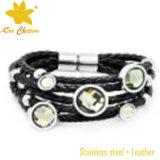 Bracelete de couro de aço inoxidável Stainles de moda