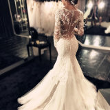 Machen-oben elegante Spitze 2017 zurück Trompete-Hochzeits-Kleid Reißverschluss zu (Dream-100084)