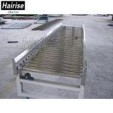 Flexible de acero inoxidable Hairise gira 90 grados de transportadores de rodillos
