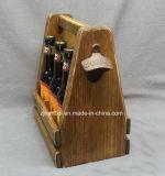 Portador de madera sólido de la insignia de encargo con el abrelatas para el vino de la cerveza