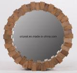 Espelho de suspensão moldado em madeira natural decorativa de parede redonda