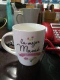 Taza de café de cerámica rosada al por mayor de la promoción 12oz con la cuchara