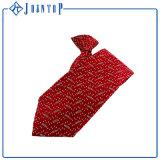 完全なカスタムロゴの編まれた赤いクリップネクタイ