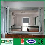 Bi Ventana plegable de aluminio con doble acristalamiento Pnoc0002bfw