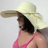 100% соломенной шляпе, стиль моды леди с цветами Украшение