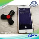 Do diodo emissor de luz da inquietação do girador de Bluetooth APP do controle preto inteligente do girador do dedo da mão da rotação DIY EDC de Spiner do dedo do altofalante de Bluetooth não para o iPhone Samsung