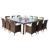 Meuble de jardin en osier à rotin extérieur Ensemble de table à manger avec verre