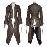 Y-731 Steampunk Hot Stamping Dovetail Woven Jacket com bainha removível