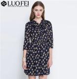 2019 Hot Sale ébouriffé imprimé floral robe en mousseline de vêtements mode