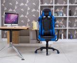 Juego del ordenador que compite con la silla de la oficina con el azul del soporte lumbar