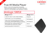 Streaming Tvbox S905X Caidao Tvbox 4k 2k 60fps Android Market 6.0 Caixa de saída HDMI2.0 TV