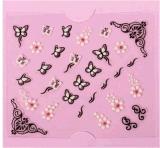 3D 백색 까만 나비 꽃 물 이동 못 스티커