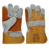 Двойной Palm вырезать Resisitant Cowhide Split кожаные перчатки для работы шахтеров