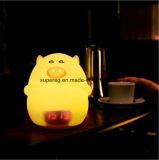 Luz encantadora de la noche de la lámpara del reloj de alarma del cerdo del silicón del LED para los niños y los cabritos