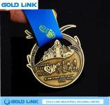 Trophées faits sur commande de médaille de marathon de médaille en laiton antique en métal exécutant la récompense