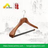 Вешалка одежд Brown высокого качества деревянная с бархатом Flocked штанга (ACH208)