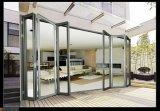 Puerta de plegamiento de aluminio del vidrio Tempered de la rotura termal de la buena calidad de Woodwin
