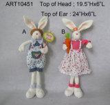 Decoración de Pascua niño y niña de pie Bunny-2 Asst