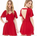Sexy женщин одежду Backless повседневный красного цвета шифона женщин платья