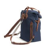 Хорошее качество долгосрочных обложка из натуральной кожи темно-синяя Canvas рюкзак сумка спортивный рюкзак