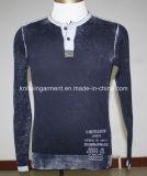 Мужчин трикотажные моды повседневная одежда длинной втулки с помощью кнопок (KH10-428)