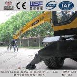 Excavador caliente de la rueda de la exportación de China con el gancho agarrador, rompiendo el martillo, taladro de Rotory