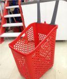 Panier à provisions en plastique de supermarché de poussée de main