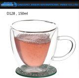 Doble pared de vidrio aislante de la copa de té, café espresso