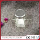 Шестиугольный стеклянный опарник для конфеты с серебряной крышкой Tinplate