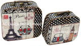 S/2 de l'impression de la conception de la Tour Eiffel décoratifs cuir synthétique/sac de stockage en bois MDF de la poitrine