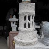 Lanterna cinzenta natural da pedra do granito/lâmpada de pedra para o jardim ao ar livre