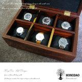 _E коробки коробки подарка вахты крышки Hongdao изготовленный на заказ роскошное прикрепленное на петлях деревянное деревянное упаковывая