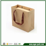 贅沢なハンドルによってパッキングのための習慣によって印刷されるクラフト紙のショッピング包装のキャリアのギフトの紙袋