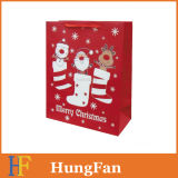 Emballage laminé brillant Sac de cadeau en papier de Noël