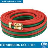 Tubo flessibile gemellare dell'acetilene dell'ossigeno singolo/della saldatura della tessile della treccia della gomma