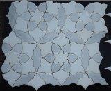 Cristal blanco mármol de flores de diseño de chorro de agua del mosaico del azulejo pulido