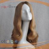 Blonder Mensch bewegt Haar Silk SpitzenSheitel Perücke wellenartig (PPG-l-0453)