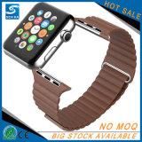 Correa de cuero de lujo de la venda del reloj para el reloj de Apple