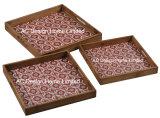 S/3 Square Custom print pastelaria servindo de madeira Bandeja Alça/W