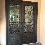 Сдобренная дверь входа ковки чугуна конструкции с причудливый работой переченя