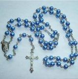 Ожерель-Rosary стеклянной имитационной перлы вероисповедный перекрестный