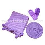 Cappello, sciarpa lavorata a maglia e guanto impostati (JRI006)