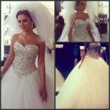 Платье венчания G1799 Tulle роскошной кристаллический Bridal мантии шарика без бретелек серебряное отбортовывая тучное