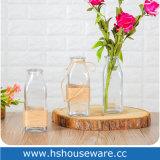 De Vaas van het Glas van de Knop van de bloem met de Kabel van de Jute
