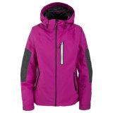 2명의 색깔 조합 여자는 Breathable 덧대진 스키 재킷을 방수 처리한다